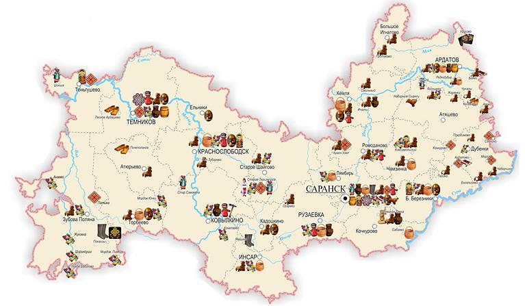Территории распространения видов народного творчества и ремесел
