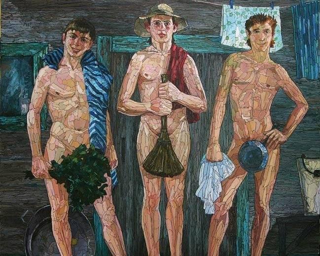Русское проникновение, в мужской бане фото