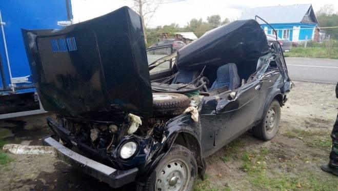 Водитель «Нивы» в Мордовии врезался в грузовик и чудом остался жив