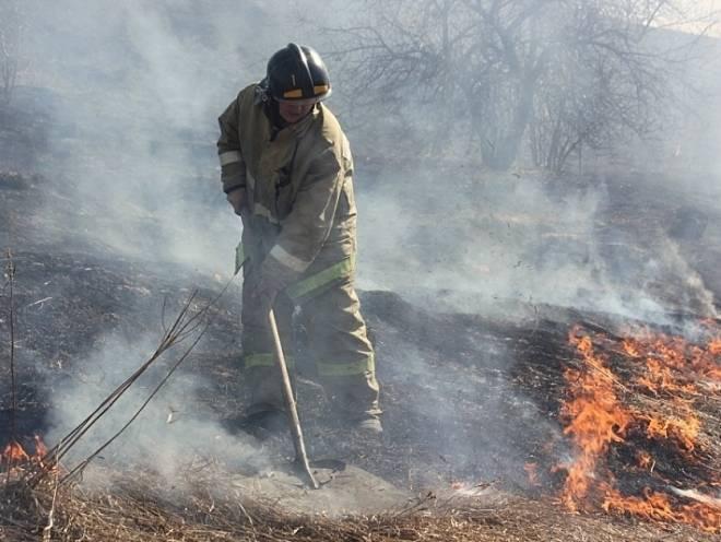 В Мордовии пожарным приходится тушить траву подручными средствами