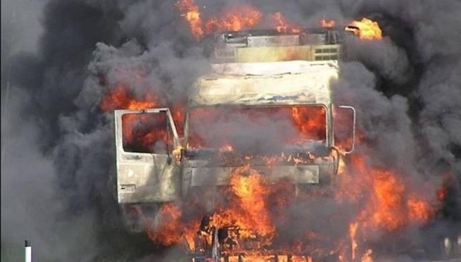 Грузовик загорелся на трассе «Саранск — Ульяновск»