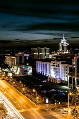 Огни ночного города постер